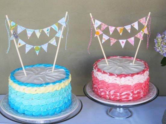 pink blue cake